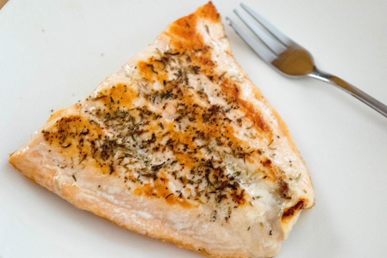 Fish Food Fork Panseared Plate Salmon Seasoned Thyme White