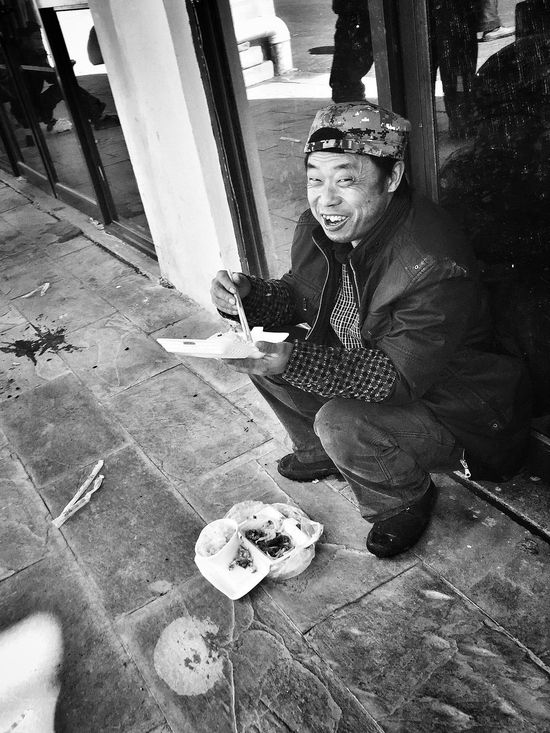 Migrant Workers Enjoying Life Black And White Lunchtime Monochrome People