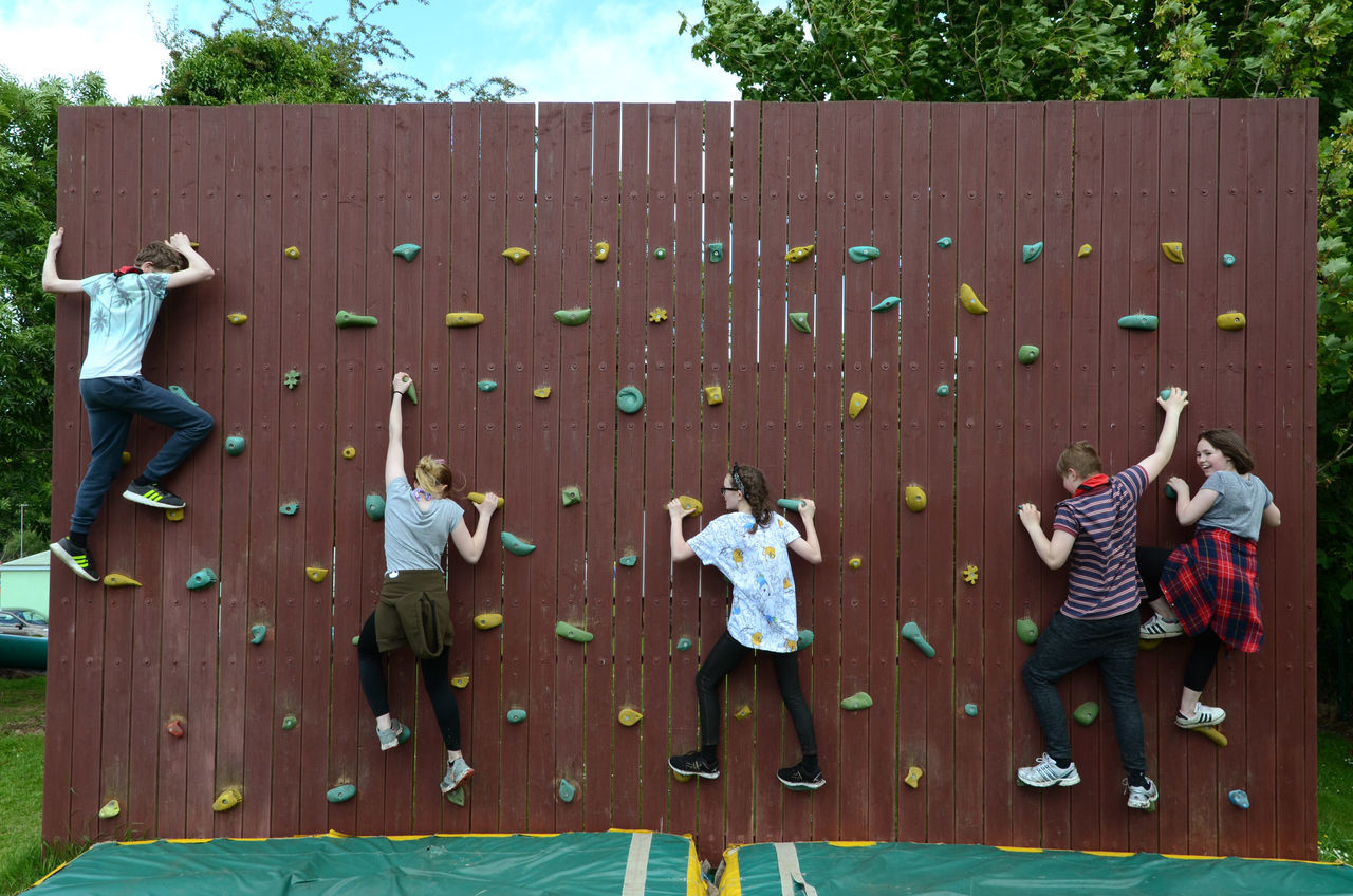 Bouldering Wall Climbing Climbing Wall Group Of People Leisure Activity Outdoors Young People