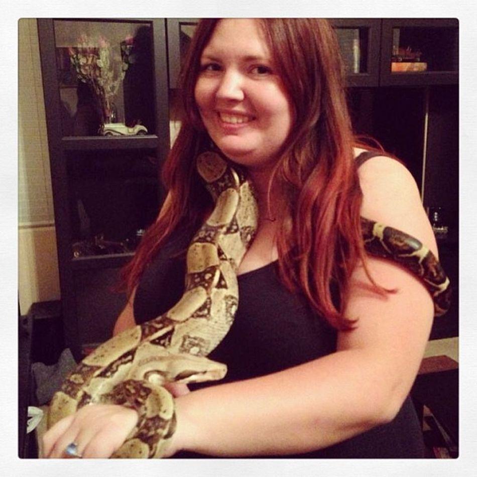 Me (bad pic) with Toby the red boa Toby  Redboa Boaconstrictor Snake boa phx phoenix az arizona redhead whitegirl myroadtrip roadtrip
