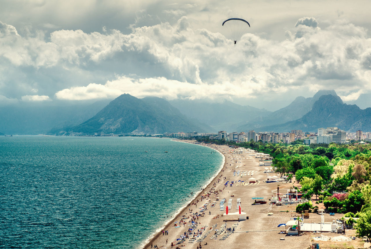 Antalya seaside. Turkey Aerial View Antalya Turkey Beach Beauty In Nature Cloud - Sky Landscape Mediterranean Sea Mountains Nature Outdoors Paraglider Picturesque Sandy Beach Scenery Scenics Sea Seascape Seaside Shoreline Sunny Day Tourist Resort Travel Destinations Turkey Turkish Riviera Turquoise Water