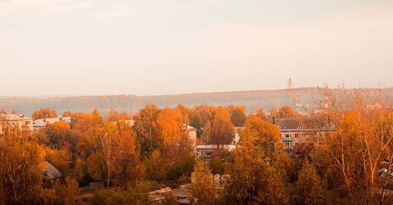 осень туман Школа Чкаловск Autumn Sunset