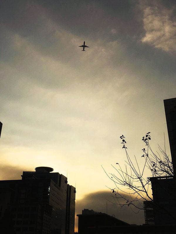 Flying Sky Building Exterior Airplane Architecture Cloud - Sky Transportation Built Structure Silhouette Low Angle View No People Air Vehicle Outdoors Nature Day My Year My View