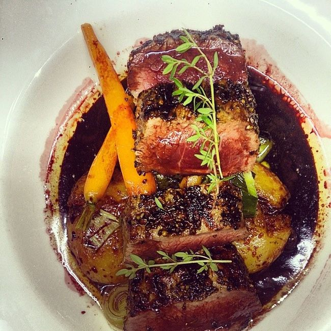 Lamb backstrap Dutch carrots,smashed chats and red wine jus Valentinebowlingclub