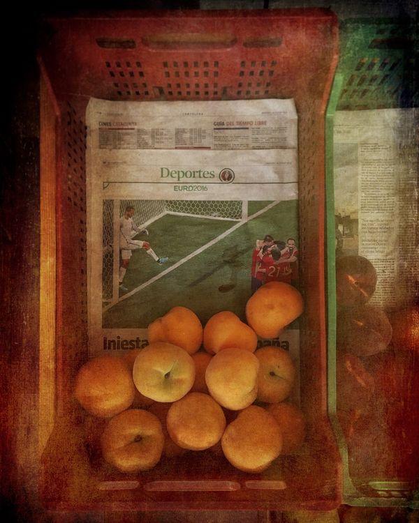 Peach Fruits Newspaper Bio Food Mediterranean Food Box