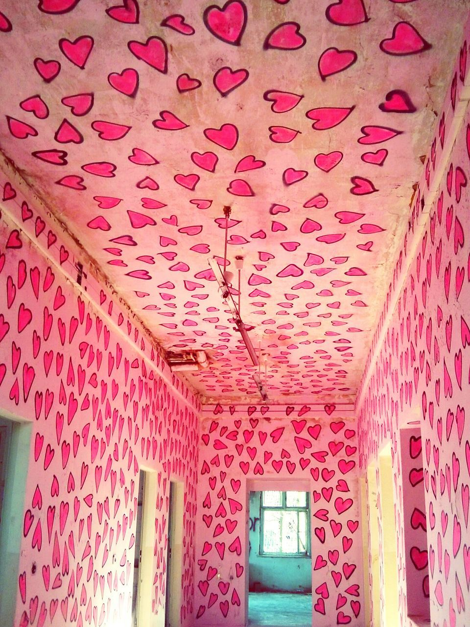 Corridor With Hearts On Walls And Ceiling
