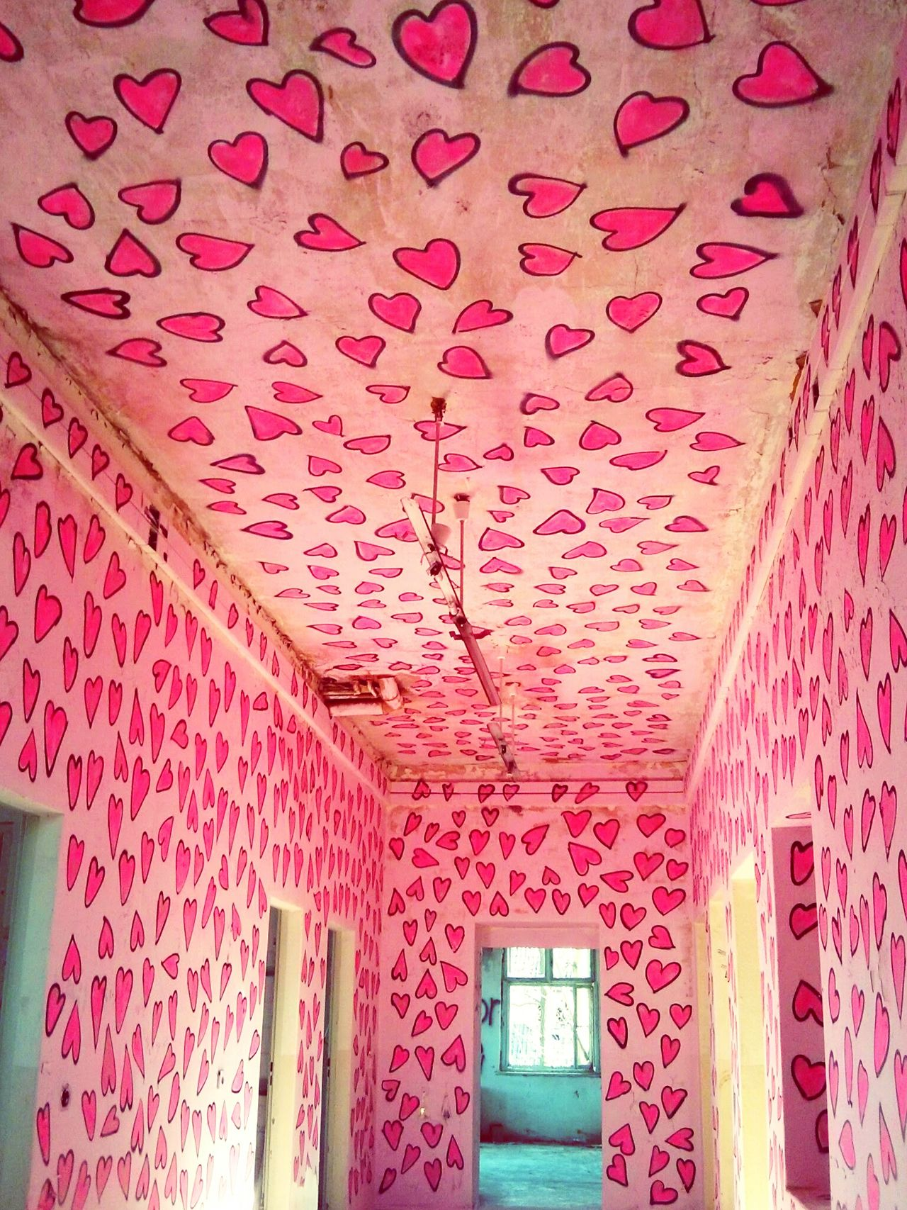 THE Heart Room . Hiding from the police. Hearts Urban Exploration Abandoned Buildings Having Fun Shaping The Future. Together. Dark Pink By Motorola I Love Color
