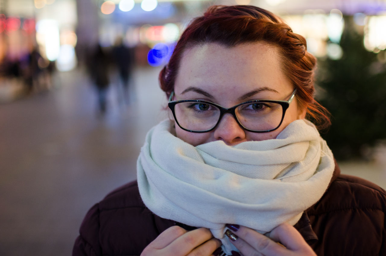 Adult Adults Only Always Be Cozy Beautiful Woman Close-up Cold Temperature Eyeglasses  Focus On Foreground Front View Headshot Human Body Part Human Face Looking At Camera Night One Person One Woman Only One Young Woman Only Only Women Outdoors People Portrait Real People Scarf Young Adult Young Women