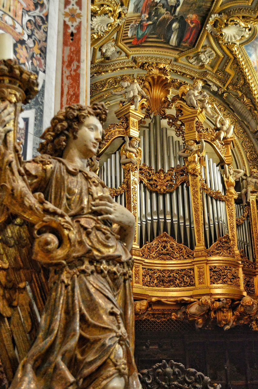 music, baroque style, gold colored, musical instrument, travel destinations, history, religion, statue, gold, arts culture and entertainment, spirituality, no people, architecture, day, outdoors