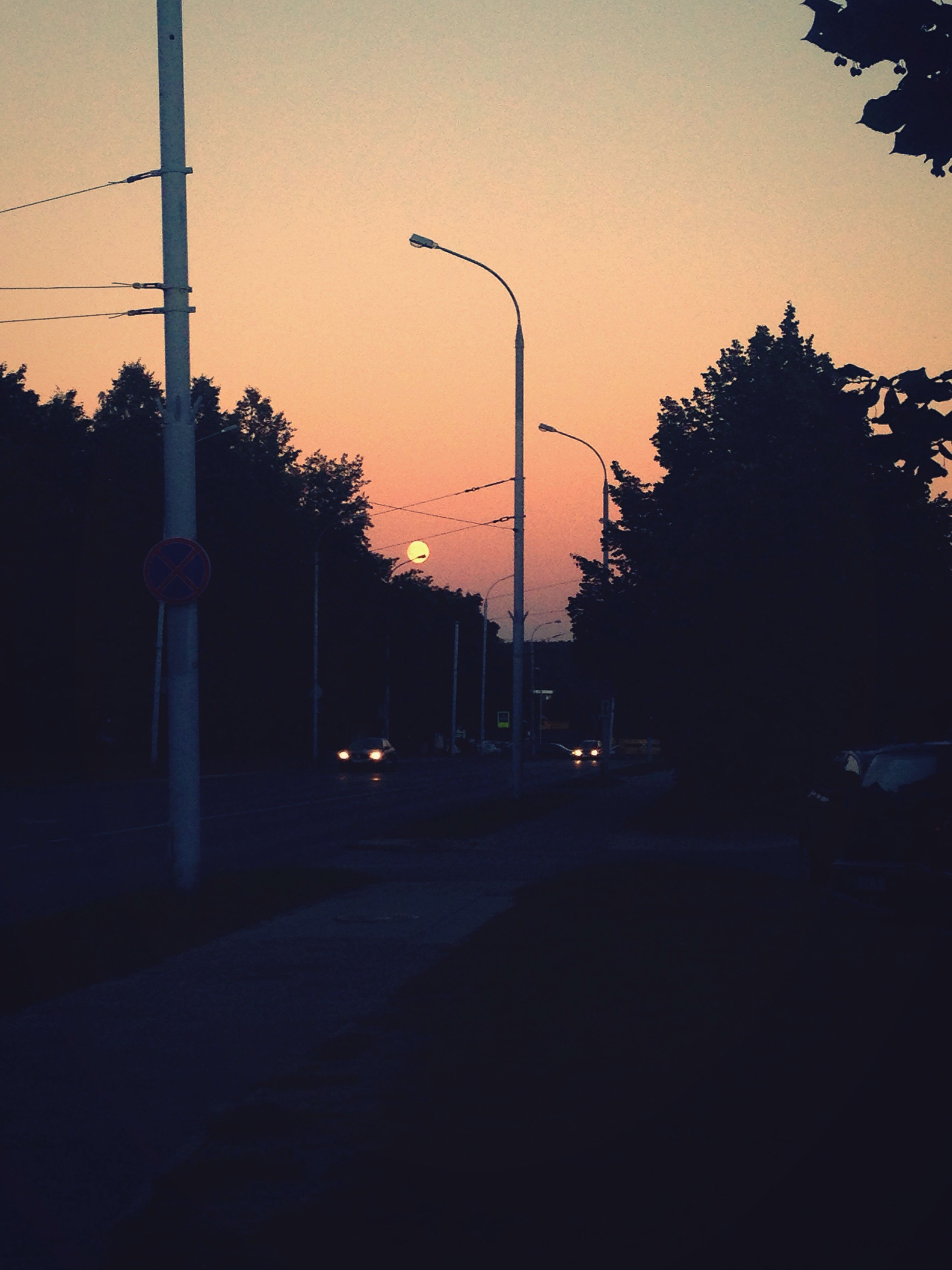 street light, road, sunset, dark, clear sky, tall, the way forward, growth, long, in a row, tranquil scene, sky, outdoors, tranquility, diminishing perspective, scenics, empty road, solitude