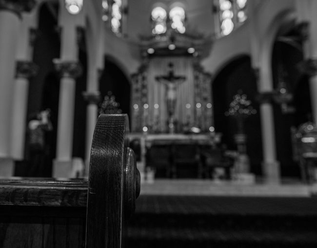 Blackandwhite Photography Catholic Church Close-up Depth Of Field Focus On Foreground Fujifilm_xseries Illuminated Indoors  No People Photographyisthemuse Place Of Worship Quiet Places Religion Religious Architecture Sacred Places Sanctuary  Spirituality Wooden