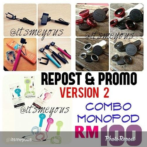 """Sorry lambat repost . Mahu mahu mahu ini . Heee By @itsmeyous """"ITS BACK! Repost & Promo V2! Kali ni FULL SET MONOPOD COMBO for only RM100 FREE POSTAGE SM. Yes RM100! RM100! -- RM100 je! What you'll get? 1) Monopod + Phone holder 2) Shutter (ios/android) 3) 3 in 1 Clip Lens ------- Terms and Condition 1) You have to REPOST this picture with caption """"Visit @itsmeyous for this awesomeeee stuff! Monopodcombo Monopodreadystock Monopodmalaysia """". 2) Whatsapp us your ORDER + details + IG Name. 3) You'll be given an order ID and payment must be made within 3 hours. LIMITED TO 50 BUYERS ONLY! Delivery on 23 March 2014 (Sunday). Note : Promo Repost ni dpt lewat sbb nk cukupkan kuota 50 and kita akan send the same day semua. Yg nk cpt dapat harga RM129 FREE postage as usual kay? Sbb ni PROMO REPOST so kene la adhere dgn T&C nye ye syg syg sekalian eheh :D TO ORDER, whatsapp +6013 288 0314!"""" via @PhotoRepost_app"""