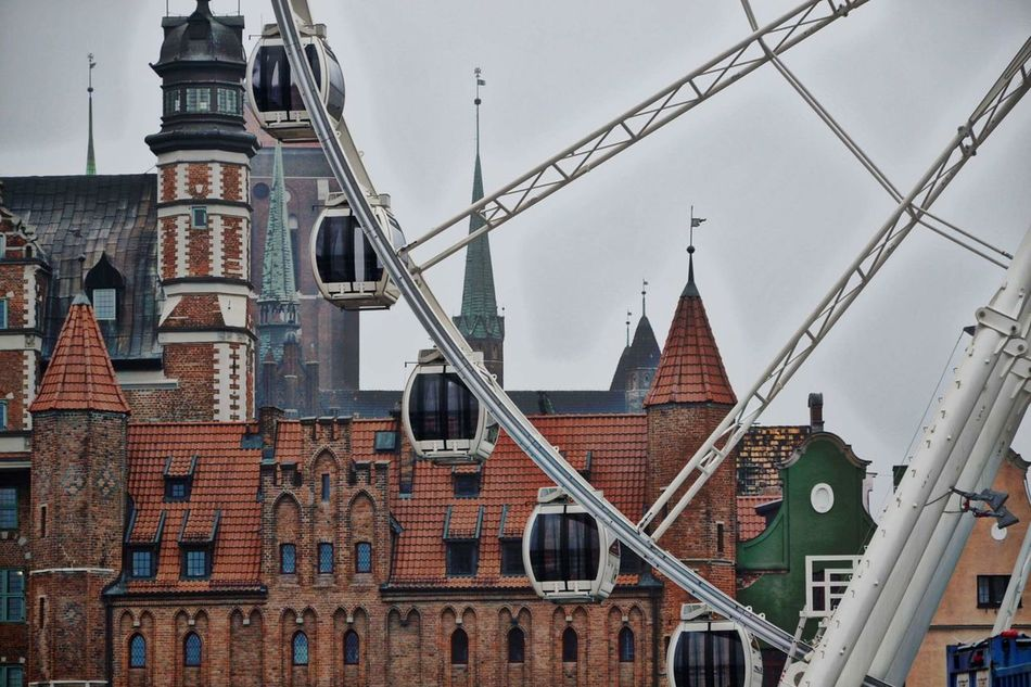 Building Exterior Business Finance And Industry Bridge - Man Made Structure Built Structure Travel Destinations Cityscape Outdoors Clock Tower Sky Clock Face Architecture History City Travel No People Day Gdańskeye Gdansk,poland Gdansk_official Gdansk (Danzig) Gdańsk. Urban Skyline Cityscape Architecture Beauty In Nature