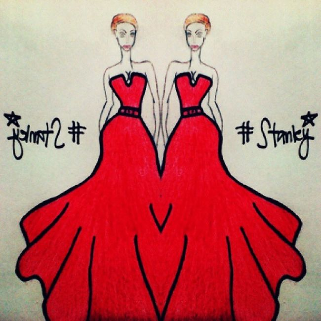 Artistic Art Fashion Fashionrunaways fashionart drawing sketch NYCinspireddress red hollywoodinspired