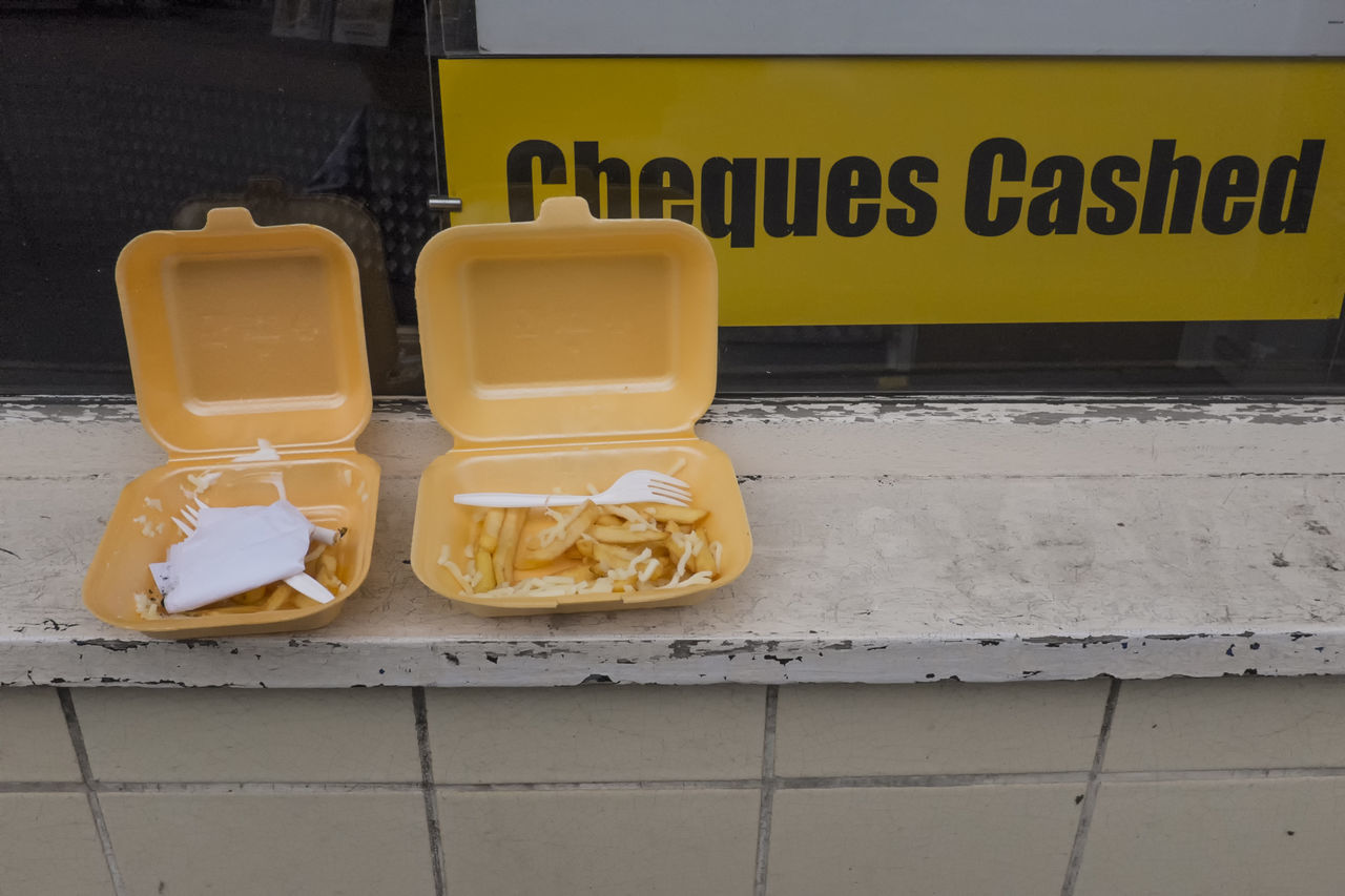Discarded food from a late night out. Taken early morning in Cambridge, UK Chips Day Dumped Environment Environmental Issues Garbage Money No People Outdoors Outdoors Photograpghy  Outside PLASTIC CONTAINER Plastic Fork Plastic Utensils Potatoes Rubbish Take Away Take Out Food Vermin Window Sill