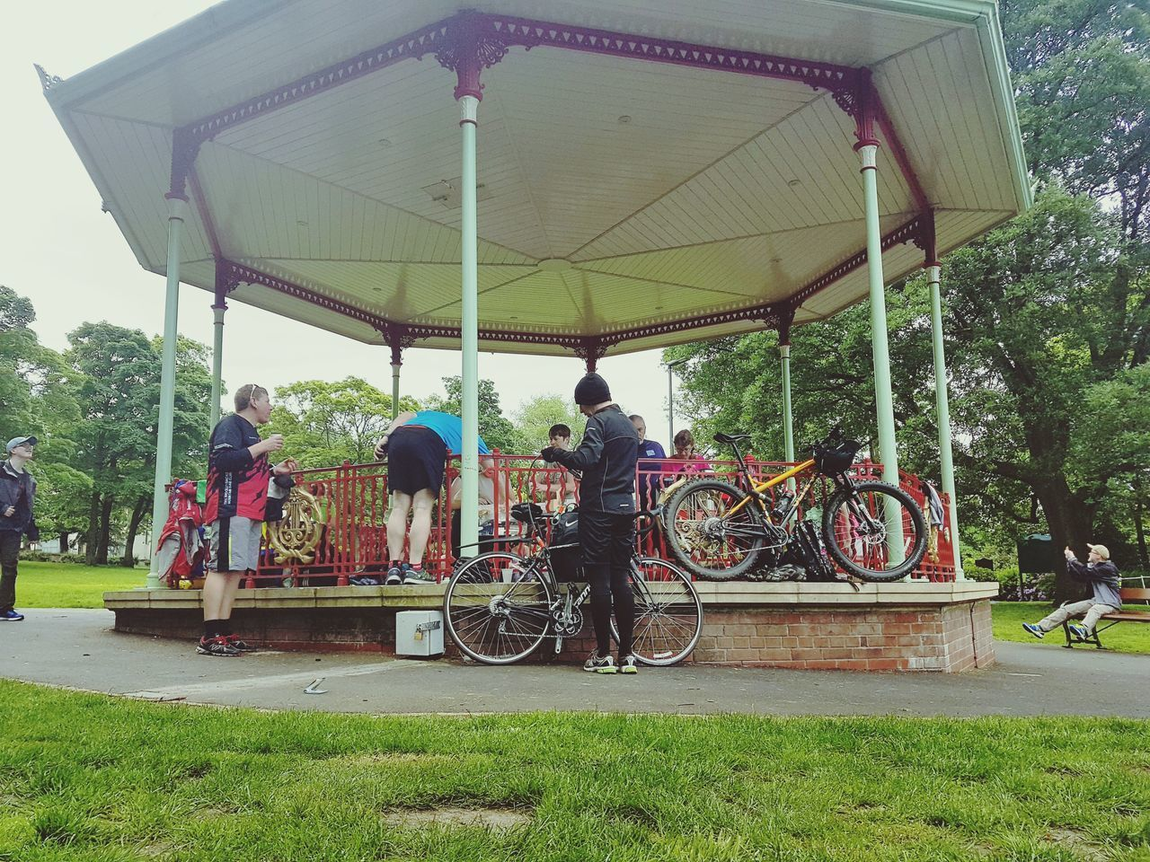 Park Run Uk Post Park Run Relaxation Bandstand People Outdoors Real People Lifestyles Men Capturing The Moment Bike Bikes Everyday Lives