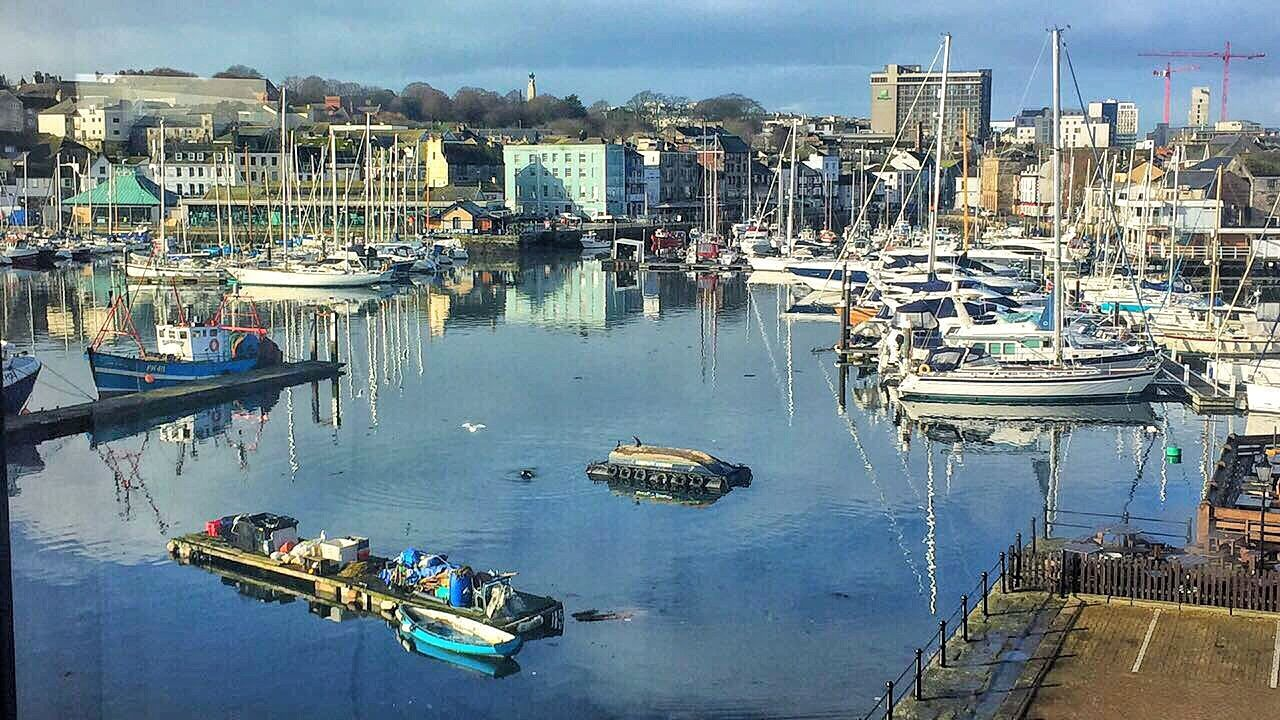 Architecture Beauty In Nature Blue Sky Boats Day Fishing Boats Harbor Mode Of Transport Moored Nature Nautical Vessel Outdoors Plymouth Pretty Reflection Reflectons Seaguls Seal Sky And Sea Sutton Harbour Tranquil Scene Tranquility Transportation View From Above Water