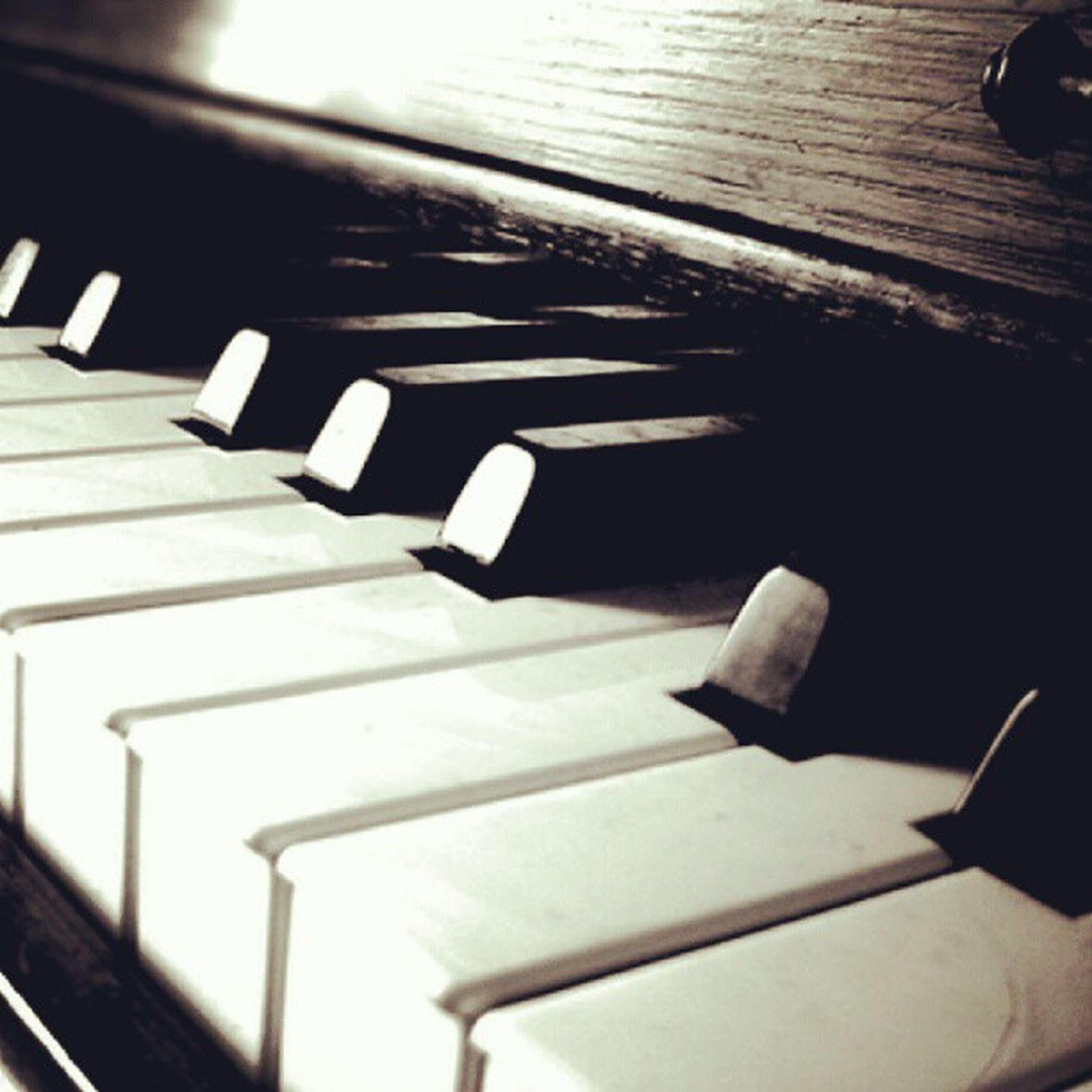 indoors, in a row, high angle view, close-up, musical instrument, still life, table, music, piano key, wood - material, piano, arts culture and entertainment, repetition, pattern, shadow, selective focus, metal, empty, musical equipment, no people
