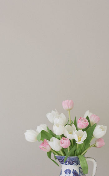 Soft and Feminine pink and white tulips in a vintage vase. Feminine  Floral Arrangement Chinois Copy Space Flower Muted Colors No People Pink Tulips Tulip Vintage White Tulips First Eyeem Photo