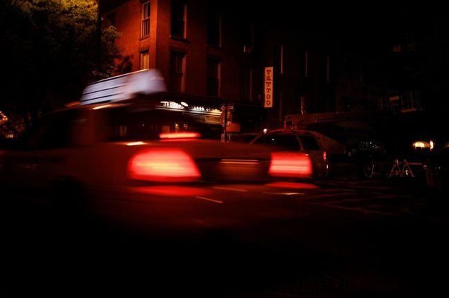 Bedford Ave, May 2015 Contax Contaxt3 35mm Film Photography Williamsburg Brooklyn New York City NYC Night Night Lights Cities At Night Yellowcab Nyctaxi Motion Blur Fujicolor Superia800