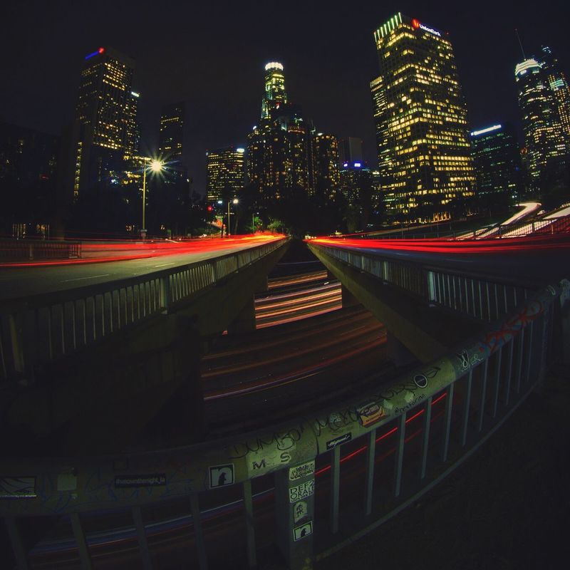 Fish Eyed 👁 Illuminated Night Building Exterior City Losangeles DTLA Losangelesphotographer LosAngelesCity Canonphotography Canon Canon_photos Canon_official