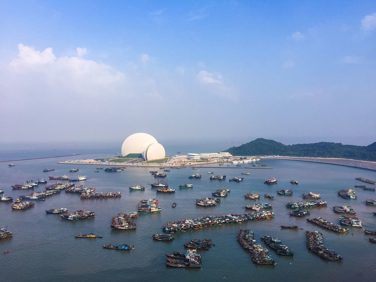 Sea Water Sky Dome Outdoors Building Exterior Nautical Vessel Mountain My Year My View Travel Destinations Architecture City No People Scenics Day Beauty In Nature Nature Opéra Zhuhai Zhuhai Opera Shell Sea Shell Boats Fishing Boat Fishing Boats