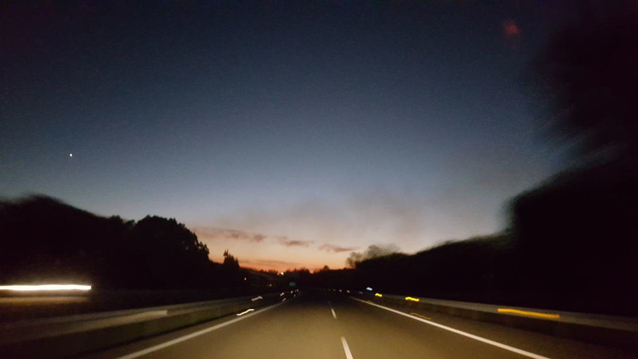 road, transportation, the way forward, road marking, dividing line, car, no people, sky, outdoors, night, nature, sunset, illuminated, beauty in nature
