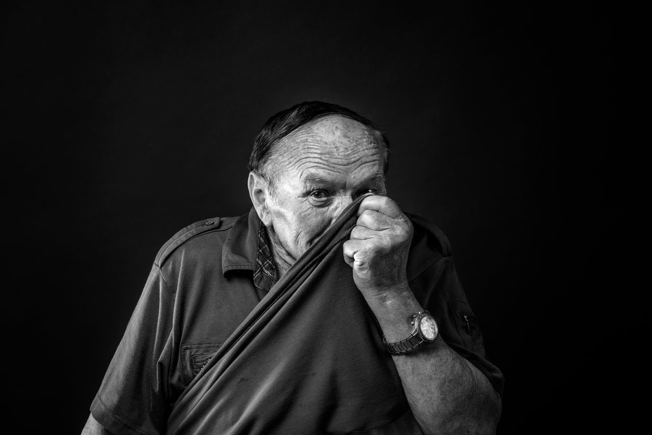 Adult Black And White Black Background Blackandwhite Close-up Gray Hair Human Hand Looking At Camera Men One Man Only One Person One Senior Man Only Only Men People Portrait Portrait Photography Real People Senior Adult Senior Men Studio Photography Studio Shot The Portraitist - 2017 EyeEm Awards