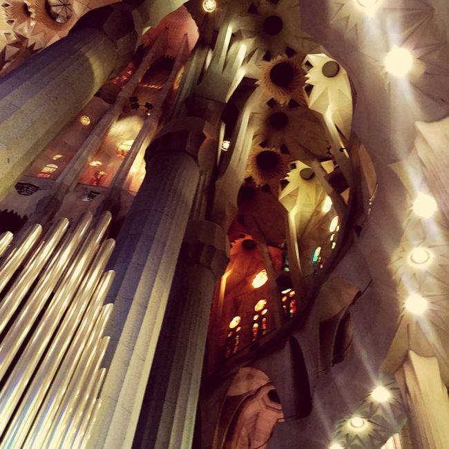 Sagrada Familia Sagradafamilia Barcelona Church Gaudi Organ Interior Pillars