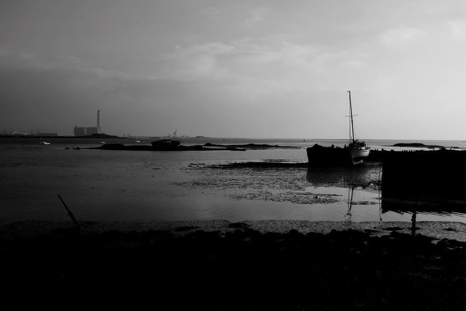 Estuary view Sky Nautical Vessel Water Moored No People Tranquil Scene Architecture Power Station Medway River
