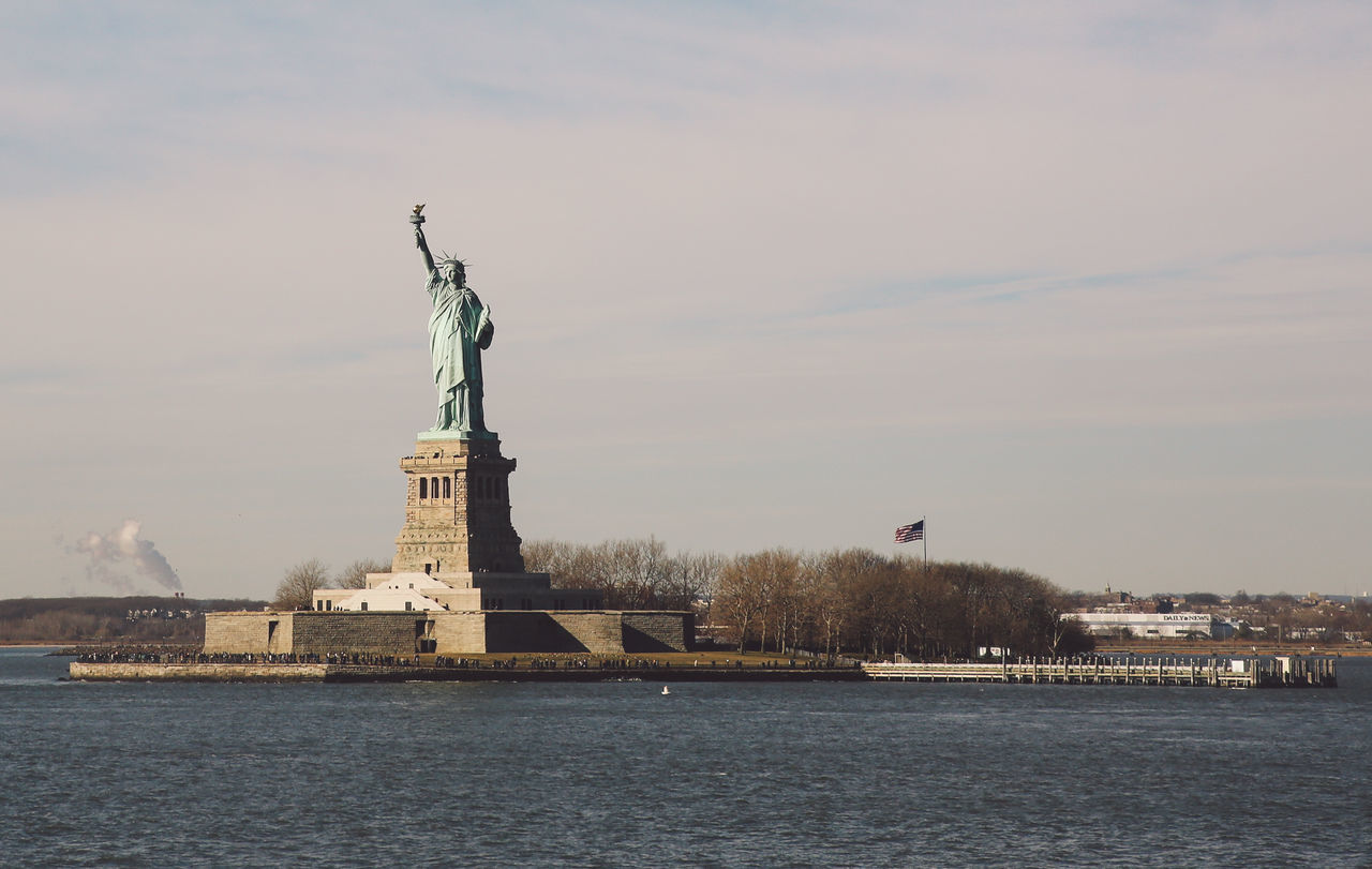 City Day New York New York City No People Outdoors Sculpture Sky Statue Statue Of Liberty Sunny Travel Destinations Water Winter