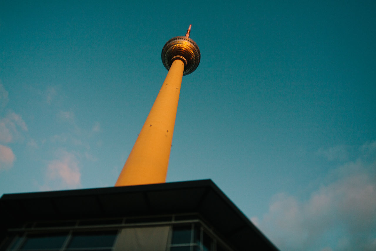 Colorful evening in winter in downtown Berlin Alexanderplatz Architecture Building Exterior Built Structure City Colorful Evening Late No People Outdoors Selective Focus Sky Sunset TV Tower Winter