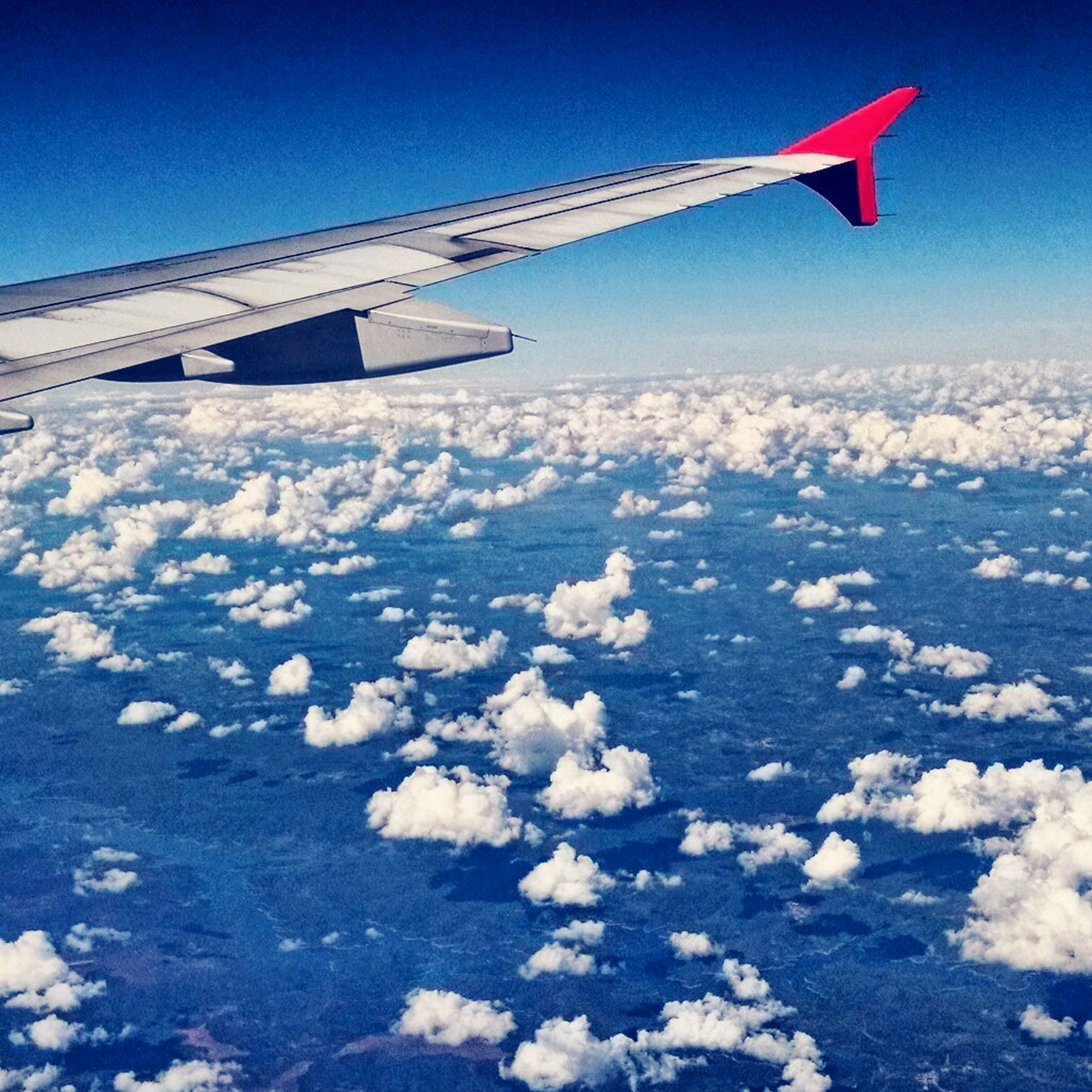 flying, aircraft wing, airplane, air vehicle, transportation, blue, mode of transport, mid-air, landscape, sky, travel, part of, journey, cropped, nature, aerial view, scenics, white color, beauty in nature, on the move