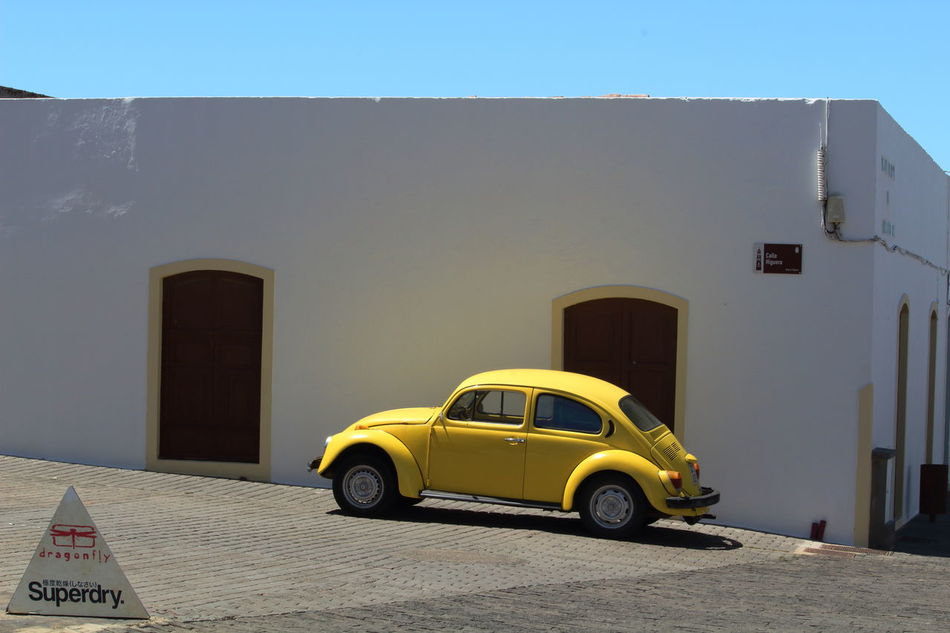 Architecture Building Exterior Built Structure Canary Islands Car Car Collection Carlover Cars Day Käfer Käfer VW Land Vehicle Lanzarote Island Maggiolino Mode Of Transport Nice Car In The Street No People Outdoors Photoart Sky Spring Into Spring Stationary Transportation VW Beetle Yellow