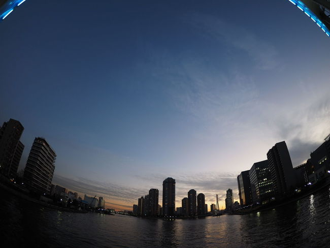 View Sunset River View River Cityscapes Streetphotography From My Point Of View Relaxing Taking Pictures Taking Photos Japan Japan Photography View Fisheye Sumidariver Bridge Riverside Photography Riverside