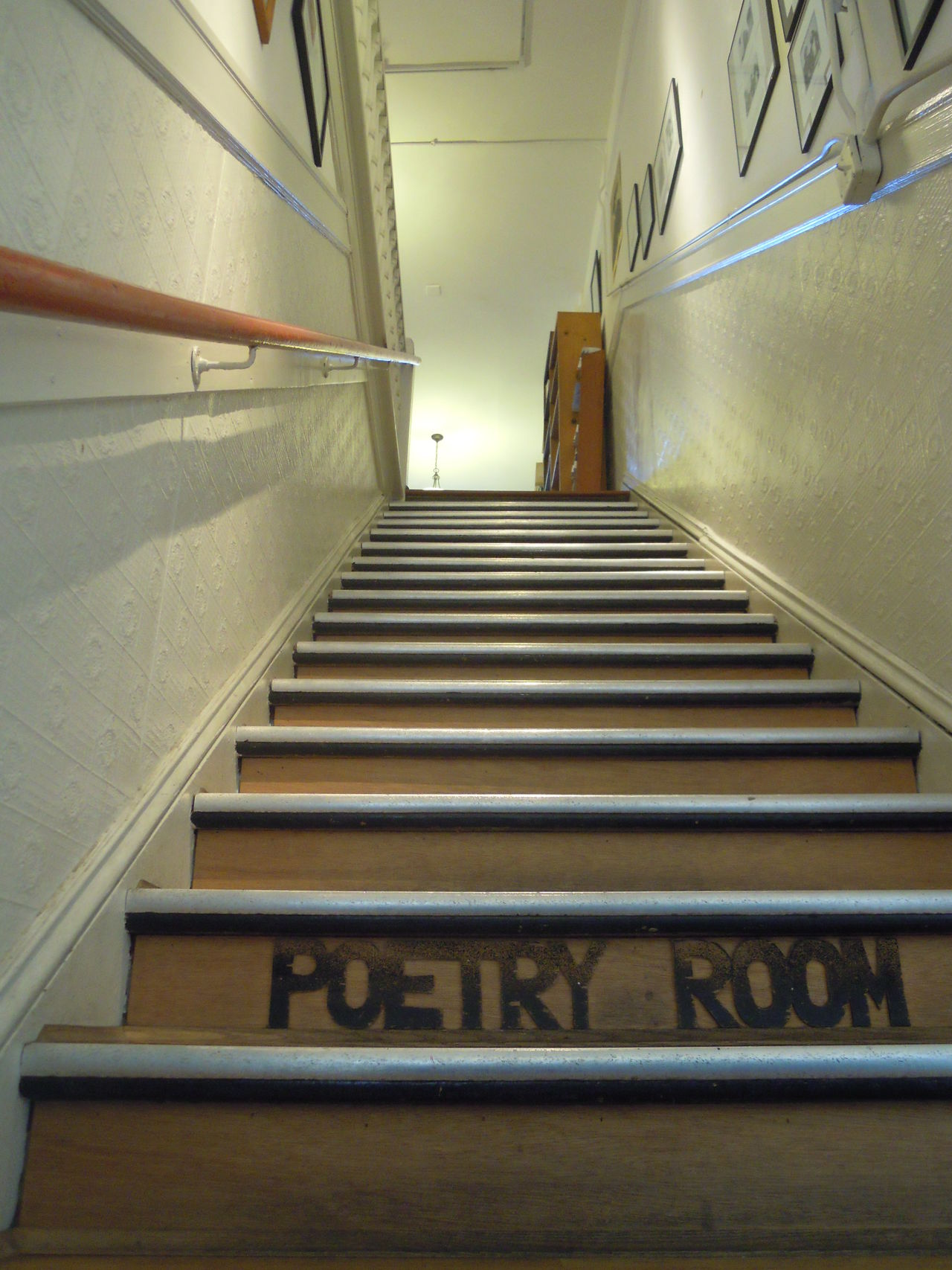 Poetic steps. Book Store Books Framed Pictures Indoors  Perspective Poetry Staircase Steps Steps Steps And Staircases Tiled Floor View From Below Wood Words