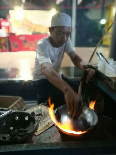 Indonesian street food Outdoors Flames & Fire Asianfood Food Kerak Telor Duck Egg One Man Only One Person Adult Making People Working Night