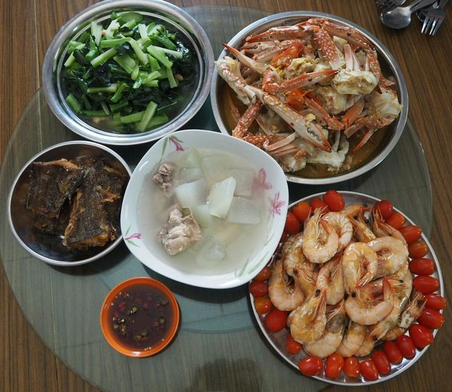 Home Cooked Lunch Time! Gathering Seafoods Delicious Yummy Lovely Lunch Fresh Catch