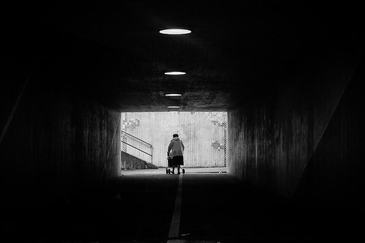 One Person Tunnel Black And White Monochrome Street Photography Bw_collection