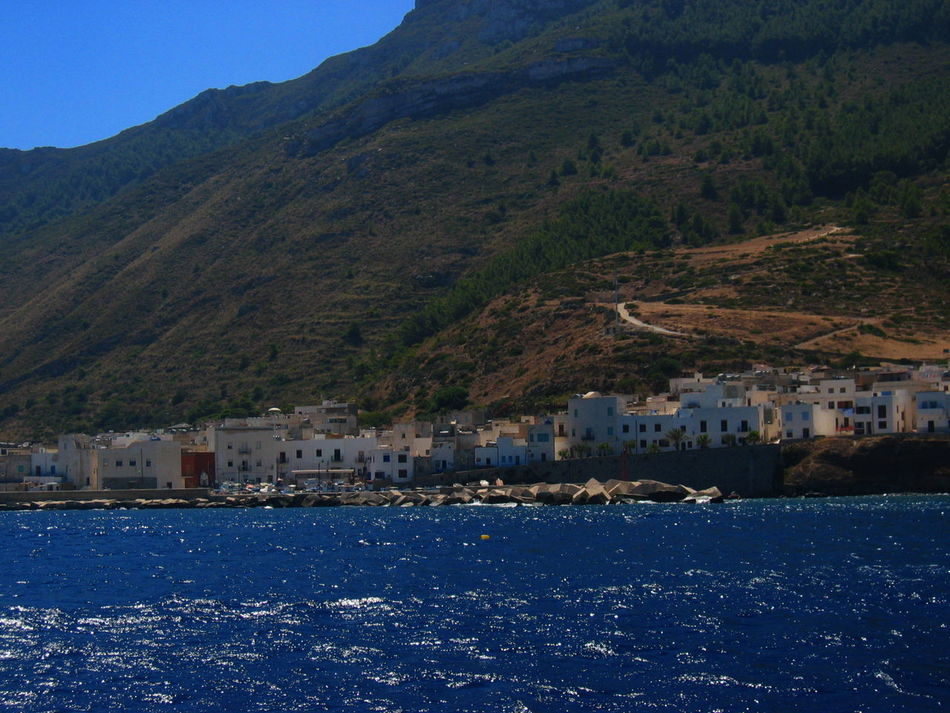 Architecture Blue Clear Sky Landscape Marettimo Island Mountain Nature Residential Structure Sicily, Italy Water Waterfront