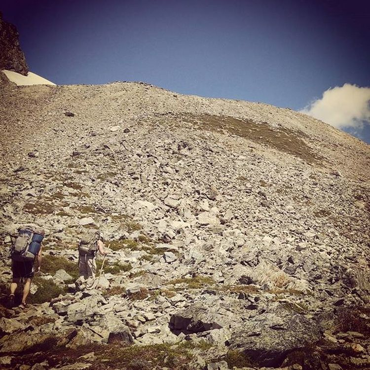Where's the trail? Final ascent Sahale Glacier, WA Steep Mountains Northcascades Pacificnorthwest Washington WA Getoutside Trails Backpacking Backcountry Mountain Getlost Waunderlust Summer2015 Cairns Everytrailconnects