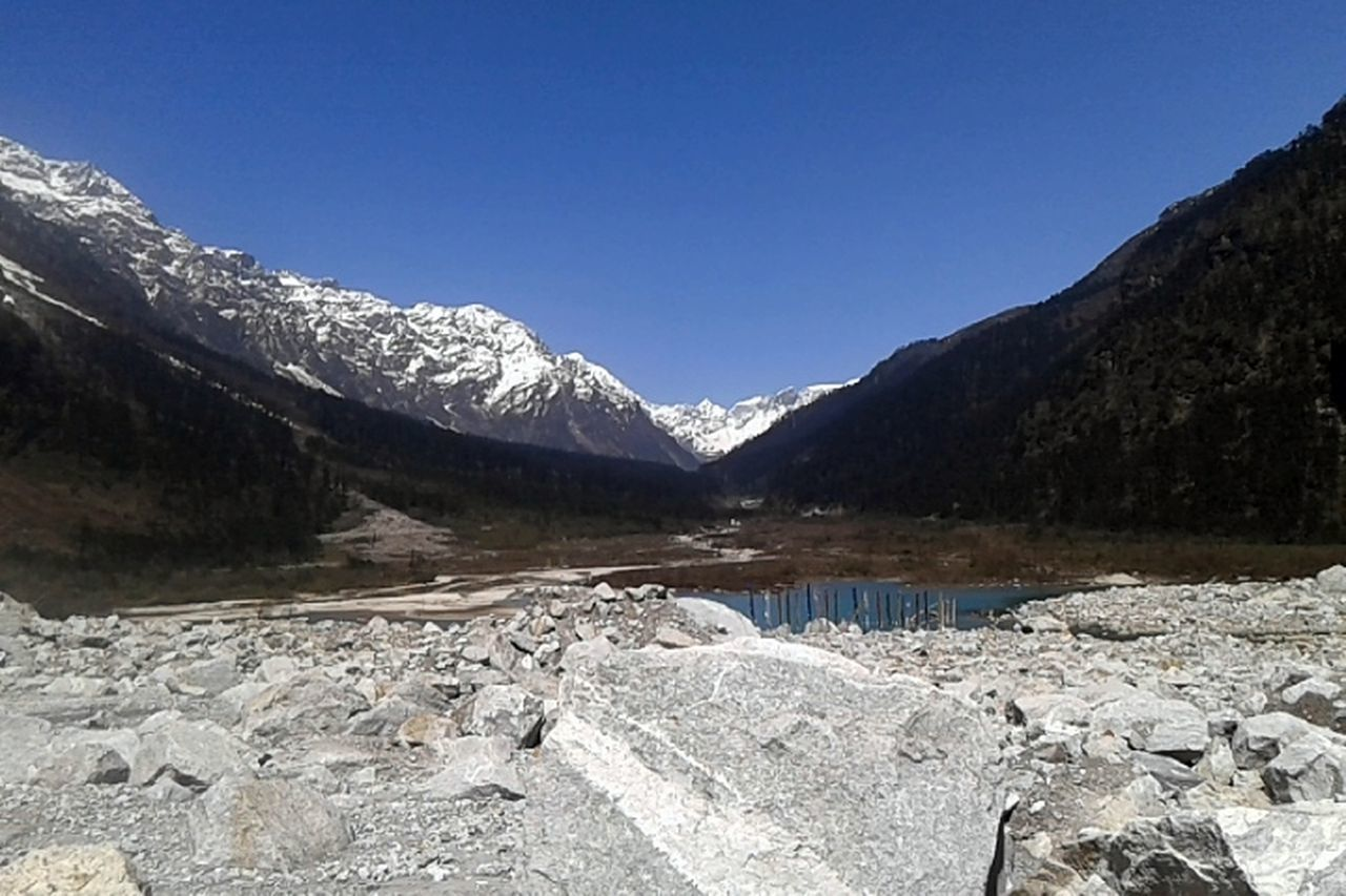 Yumthang Yumthang Valley Sikkim Mountains Snow Capped Mountains Snow Covered Mountains Lachung Lachung Valley Mountain River Mountains In Background Mountain Lake