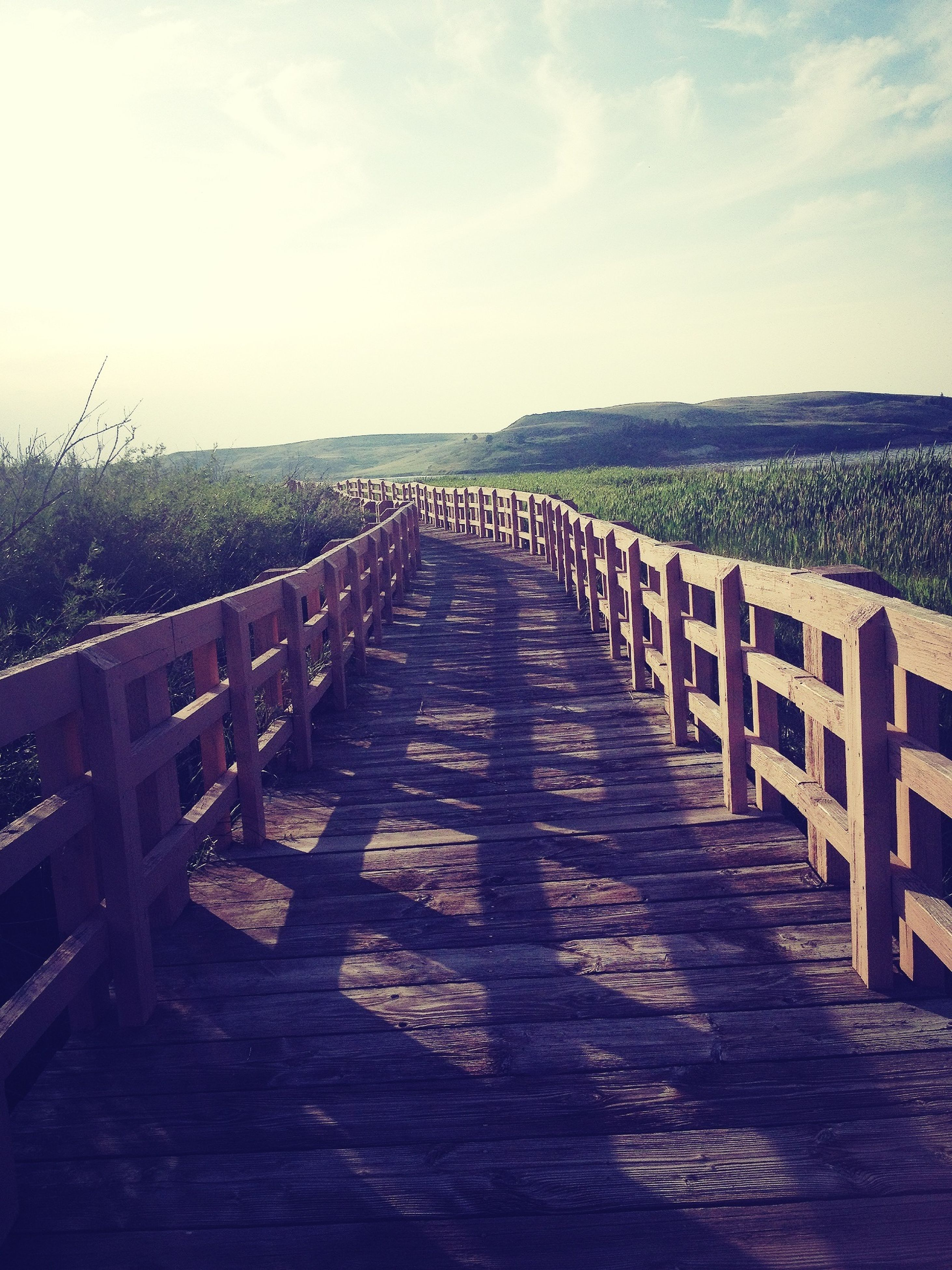 the way forward, diminishing perspective, sky, vanishing point, railing, tranquility, tranquil scene, wood - material, in a row, nature, fence, scenics, long, sunlight, cloud - sky, landscape, boardwalk, day, outdoors, beauty in nature