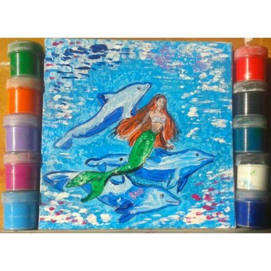 Вспоминая детство акрил рисунок иллюстрация русалочка арт