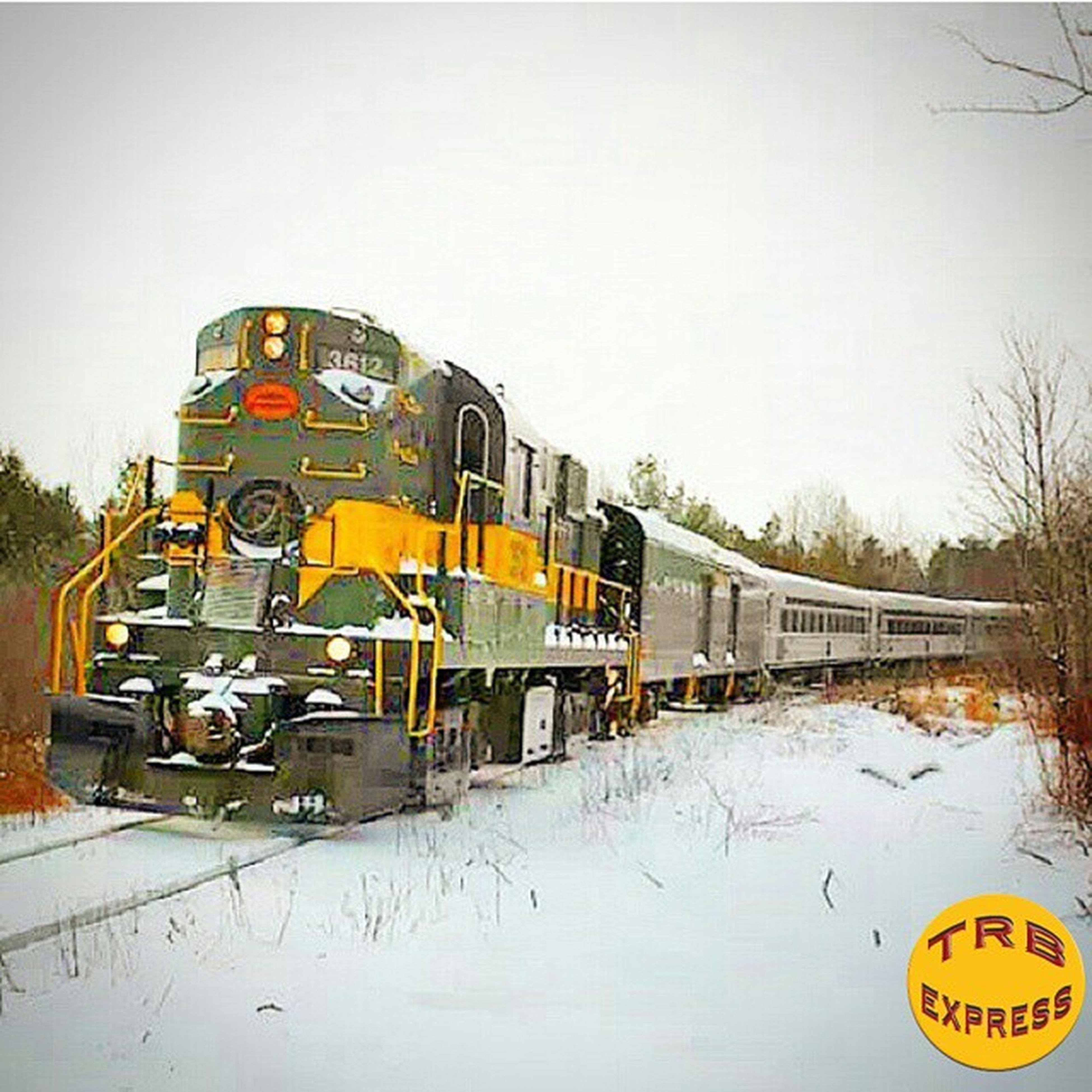 transportation, mode of transport, land vehicle, clear sky, car, yellow, winter, copy space, tree, snow, public transportation, text, western script, travel, bare tree, stationary, cold temperature, road, season, train - vehicle