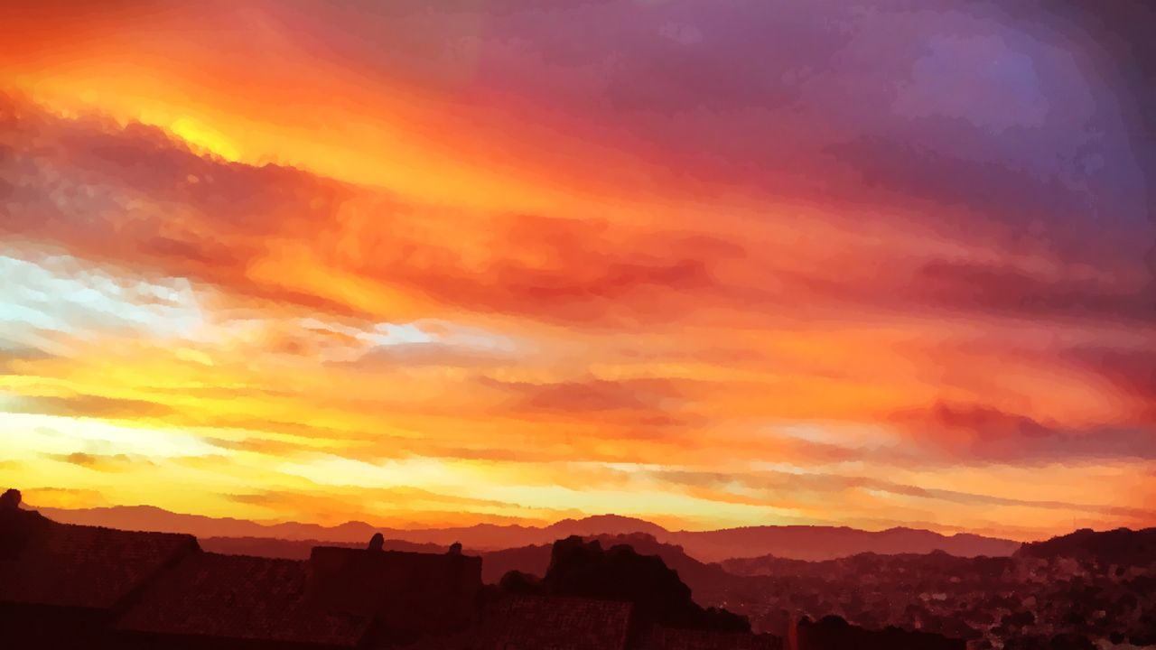 sunset, orange color, architecture, built structure, sky, building exterior, no people, silhouette, outdoors, mountain, cloud - sky, scenics, nature, beauty in nature, day