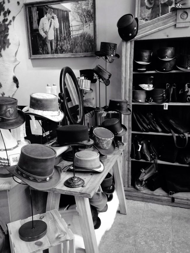 Monochrome Photography Old-fashioned Collection Man Made Object No People Hats USA Telluride