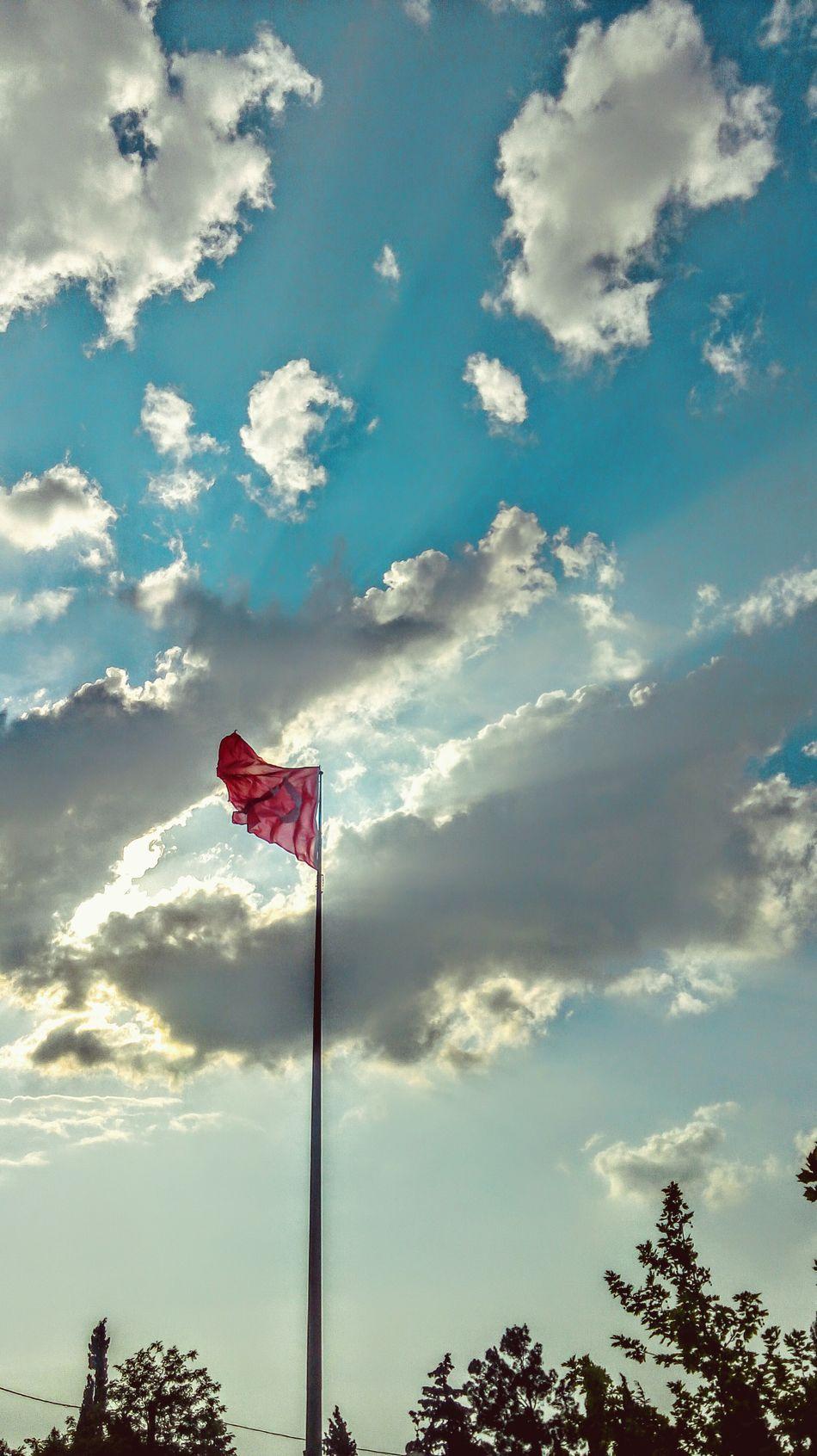 Relaxing Red Redflag Sky Blue Sky White