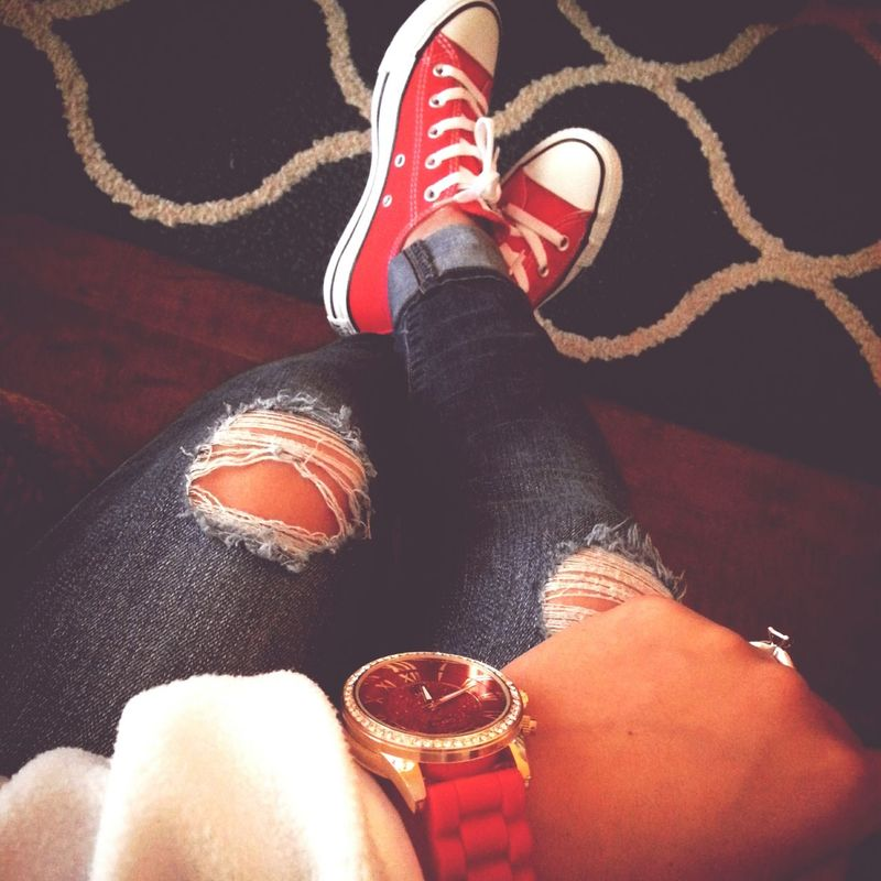 my new Converse⭐ ? Shoes Red Watch @ Charmingcharlies AllStarshoes Shoeaddict
