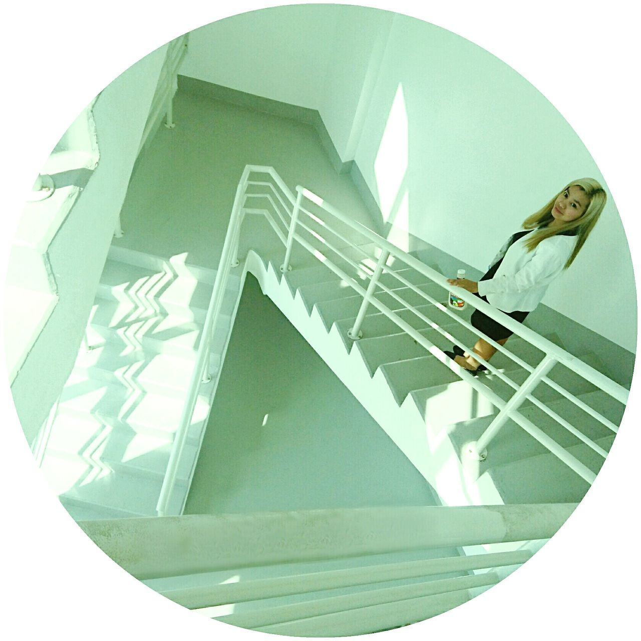 Overlay To Go Down Stairs White Interior Escape Contrast Light Shapes And Lines Light And Space